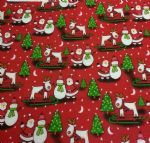 "FATHER CHRISTMAS SNOWMAN AND REINDEER - 18"" x 22"" Fat Quarter"